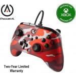 Manette Améliorée Filaire Métalic Rouge Camo Série X/S pour Microsoft Xbox One